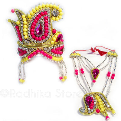 Yellow And Fuchsia Lotus Chandrika - Rhinestone Crown And Necklace Set