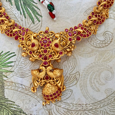 Stunning Red Peacock Bell Necklace