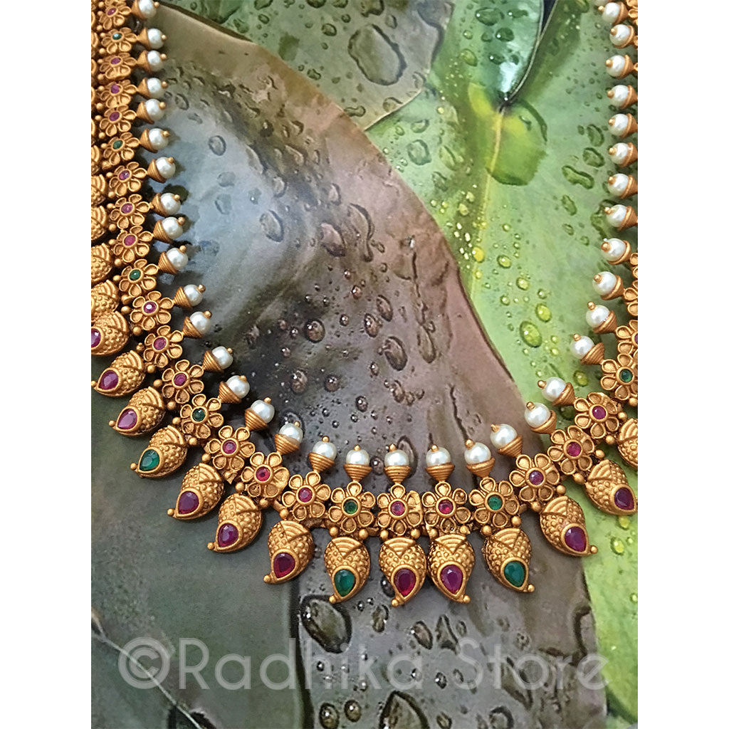 Antique Gold Look Chandrika Flower Pearl Necklace