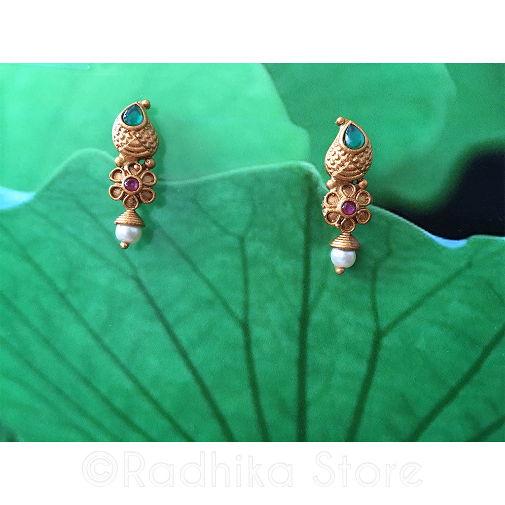 Antique Gold Look Chandrika Flower Pearl Earrings