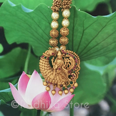 Sri Lakshmi Riding Peacock Necklace