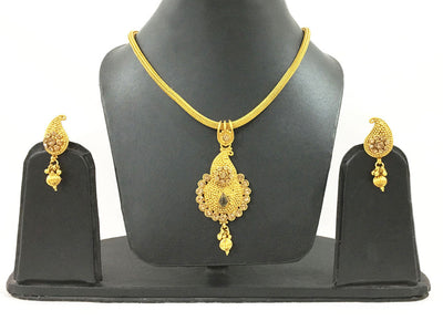 Chandrika Beige Crystal Design-Rope Necklace And Earrings Set