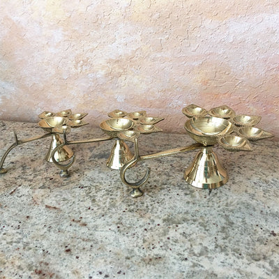 5 prong Brass Arati Lamp - Small Medium Large