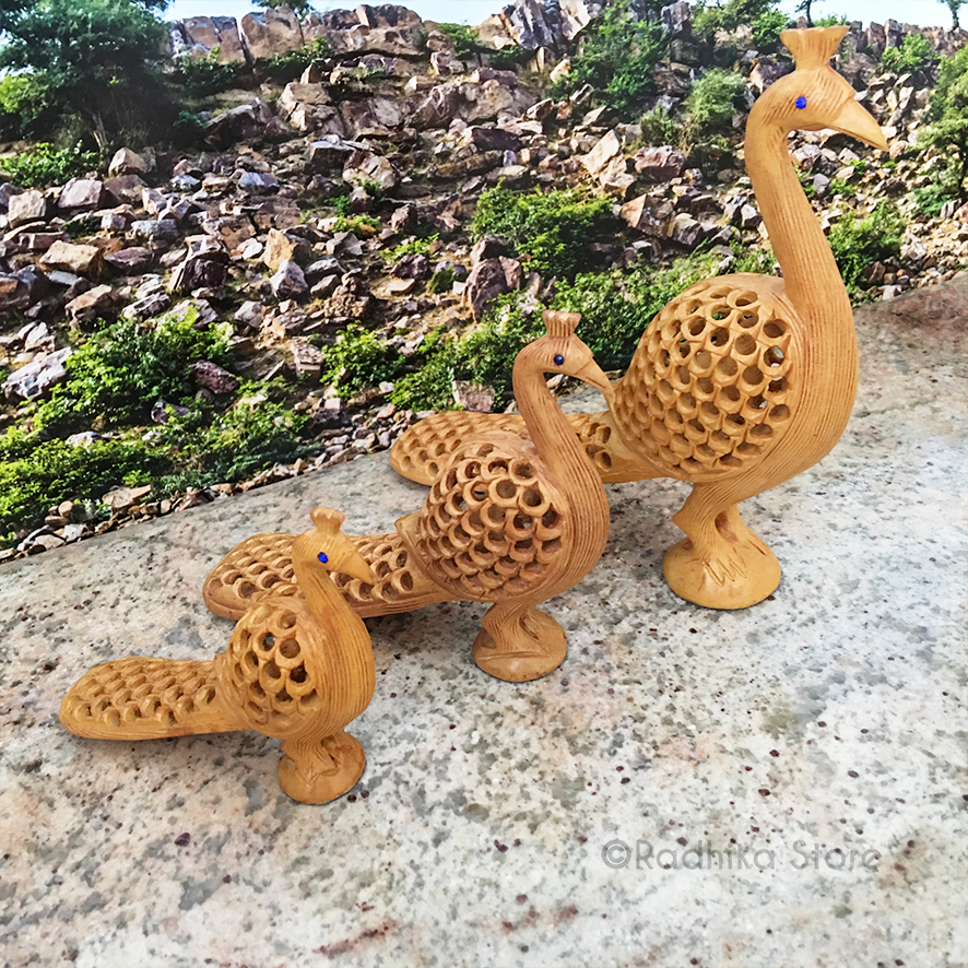 Hand Carved Govardhana Peacocks With Baby Peacock Inside- Choose From Three Sizes