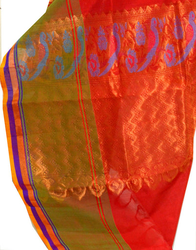 Red/Orange Blue Parrot - Silk Cotton Saree