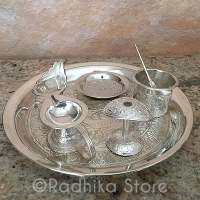 "Exquisite Silver Arati Tray Complete Set - 7"" Inch (Small Size)"