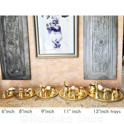 "Brass Arati Tray Complete Set - 13"" Inch (Large Temple Size)"