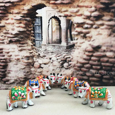 "Tiny Ceramic Surabhi Altar Cows Set 1 1/4"" Inch- Choose Color"