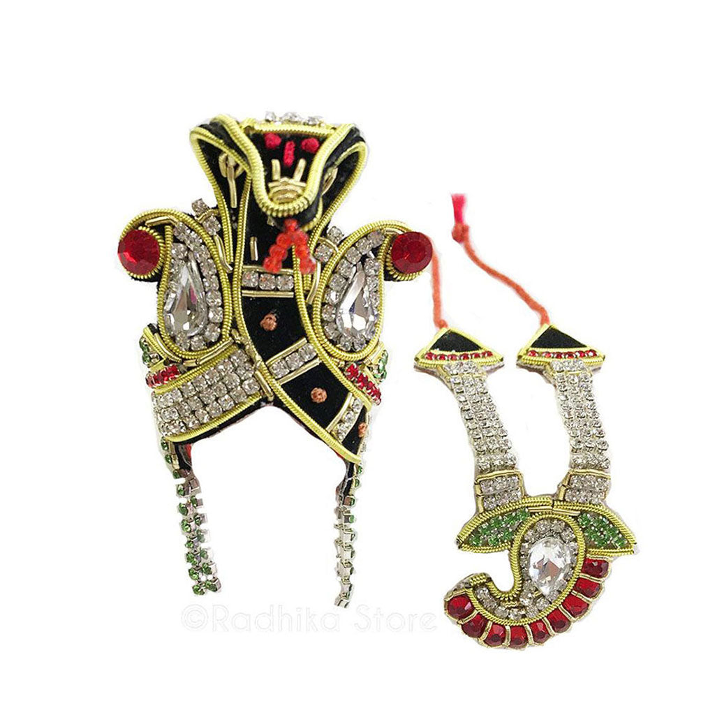 Ananta Shesha - Deity Crown Necklace Set - Black and Red