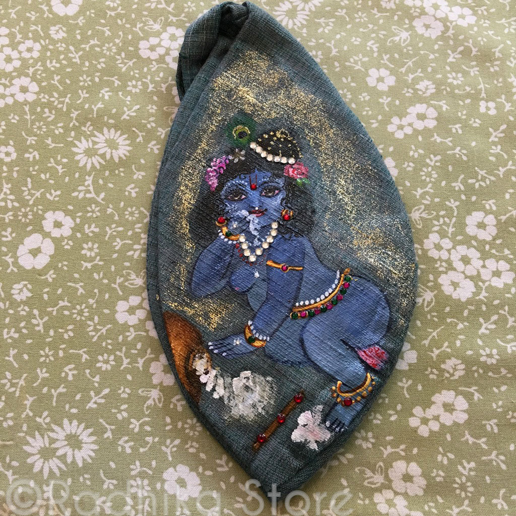 Baby Blue Krishna- Hand Painted With Jewels - Slate/Green- Jute - Bead Bag