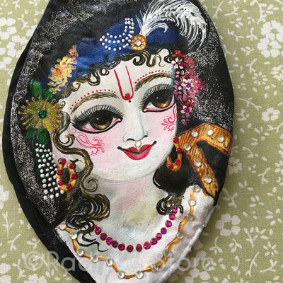 Sri Balaram Ji - Hand Painted With Jewels - Black Cotton - Bead Bag