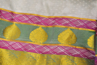 Beautiful White Pink Green Gold Jari - Pure Silk Saree