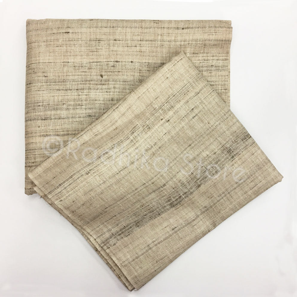 Raw Silk Dhoti And Chadar = Beige Tweed