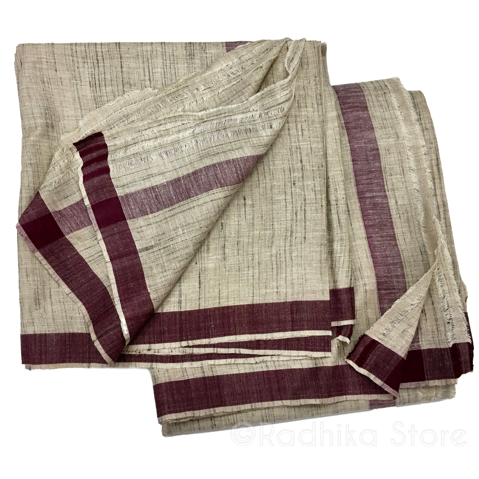 Silk Dhoti And Chadar - Natural Khadi - Beige Tweed With Maroon Stripe