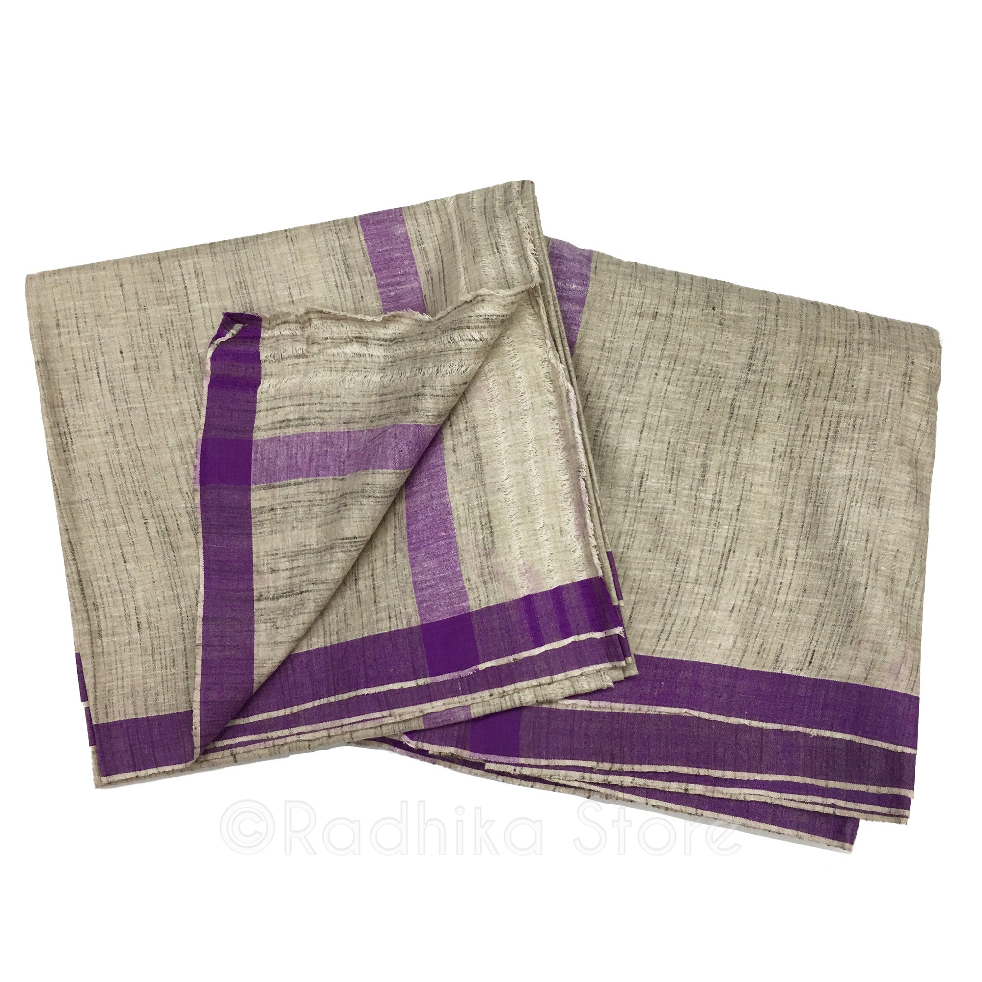 Silk Dhoti And Chadar - Natural Khadi - Beige Tweed With Purple Stripe