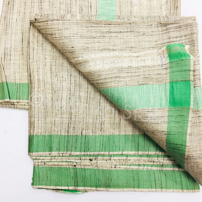 Raw Silk Dhoti And Chadar -  Beige Tweed With Sea Green Stripe
