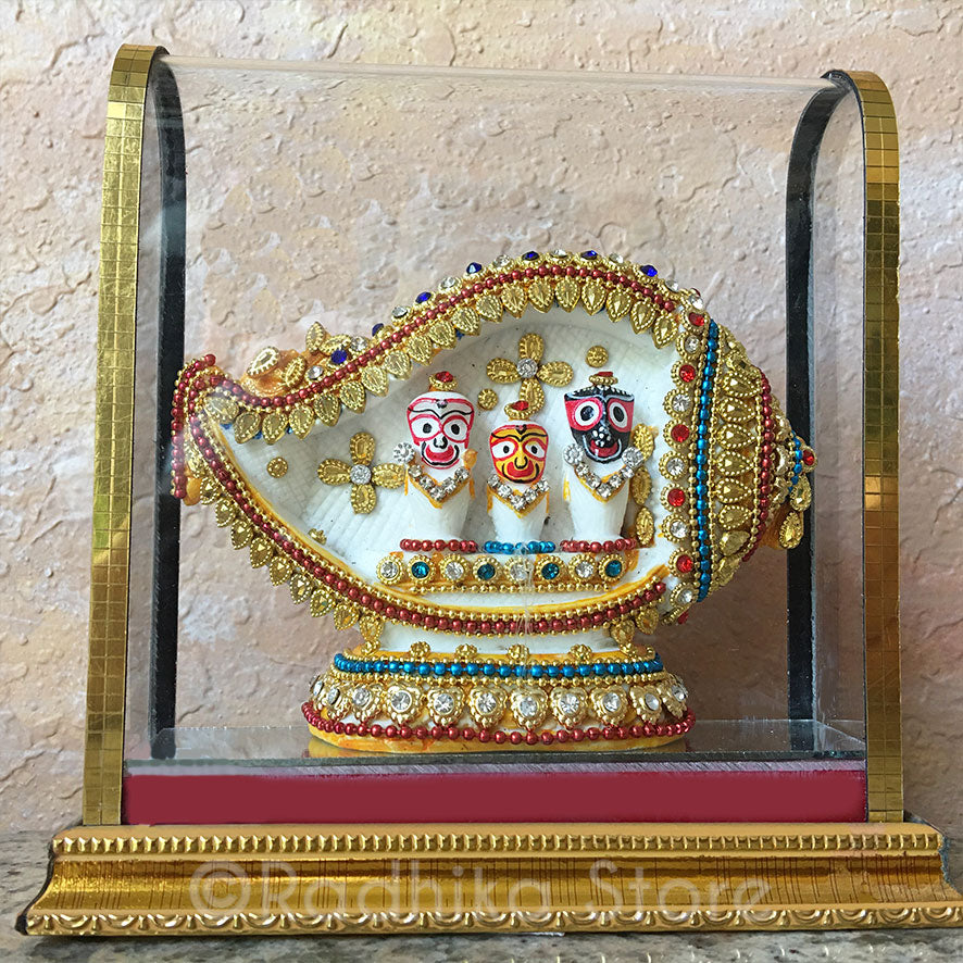 Lord Jagannath Baladeva Lady Subadra  Bejeweled in a Conch Shell - Murti