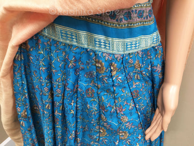 Gopi Skirt - Printed Soft Silk - Teal Flower Design - With Choli and  Chadar - Size M