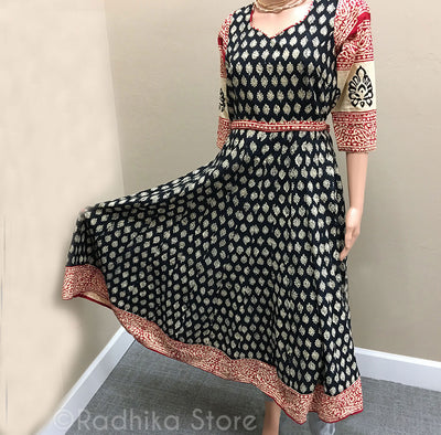 Cotton Block Print Dress - Black Cream And Red Vedic Designs