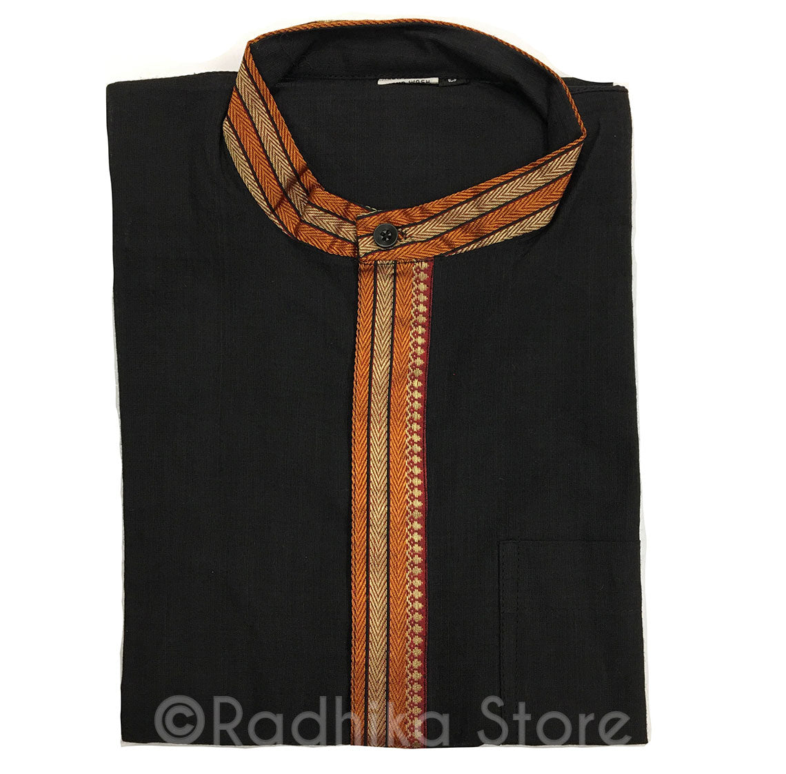 Black Kurtas - With Beige/Gold and Orange Trim - S,m,l,xl,