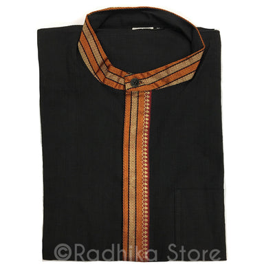 Black Cotton Kurtas - With Beige/Gold And Orange Trim - S,M,L,XL,