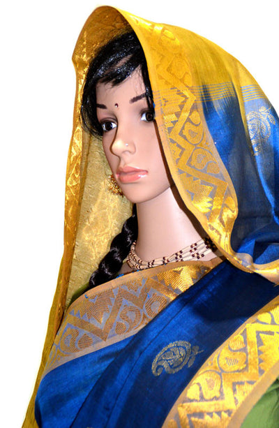 Classic Deep Blue - Yellow Gold Chandrika - Pure Silk Saree