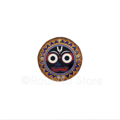 Lord Jagannath Blue Flame Lotus Acrylic Button