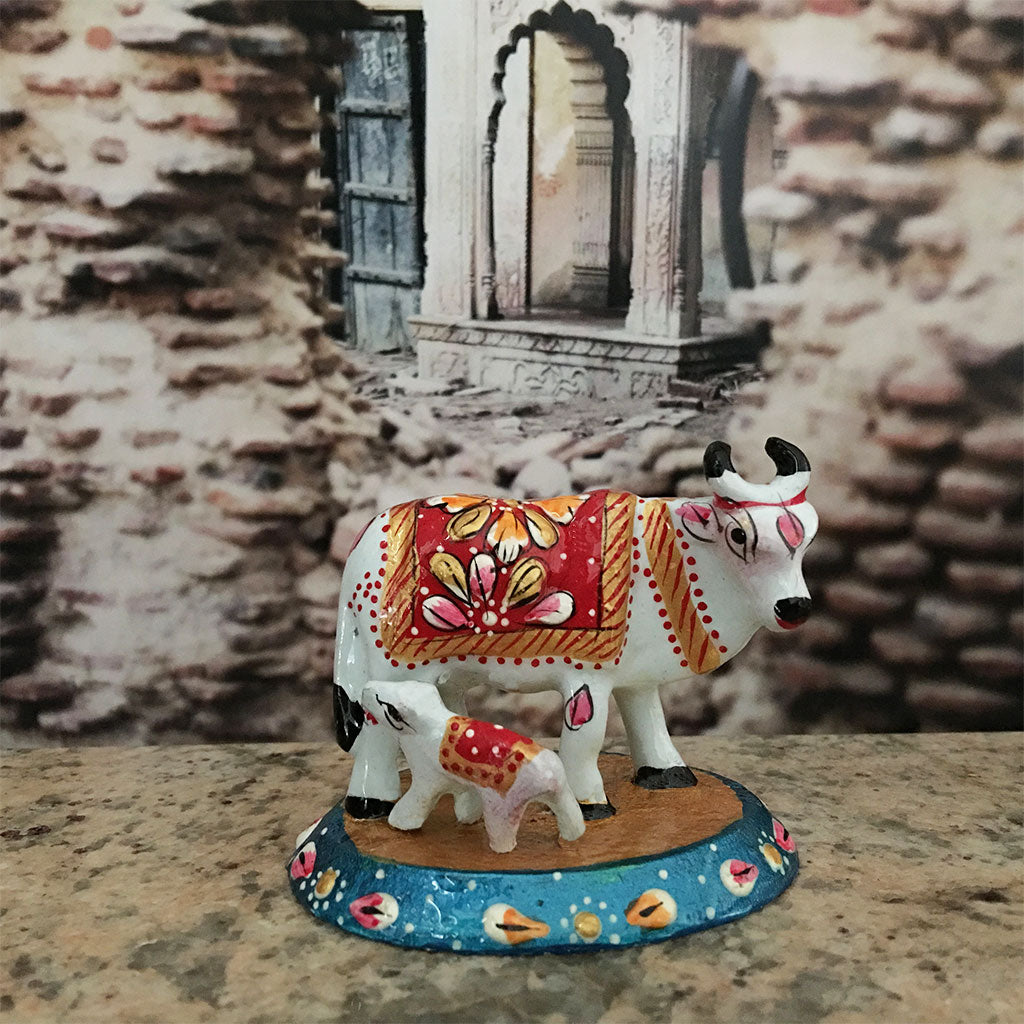 "Little Ceramic Surabhi Altar Cow With Calf - Choose Color-  2 1/4"" Inches"