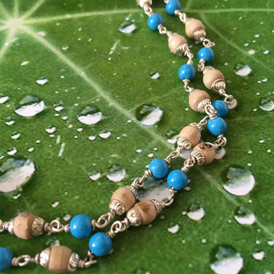 Tulsi With Blue Turquoise And Silver Chain Necklace  - 1 Round - Small