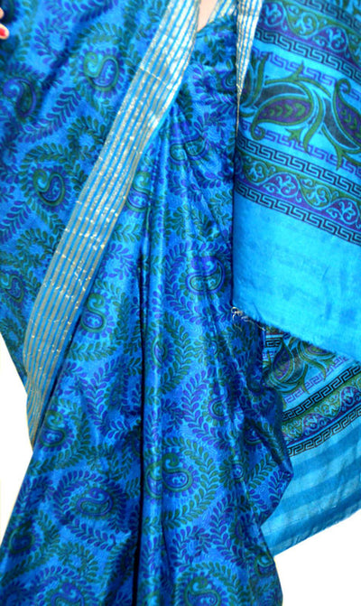 Delightful Blue Green Manjari Chandrika - Silk Saree