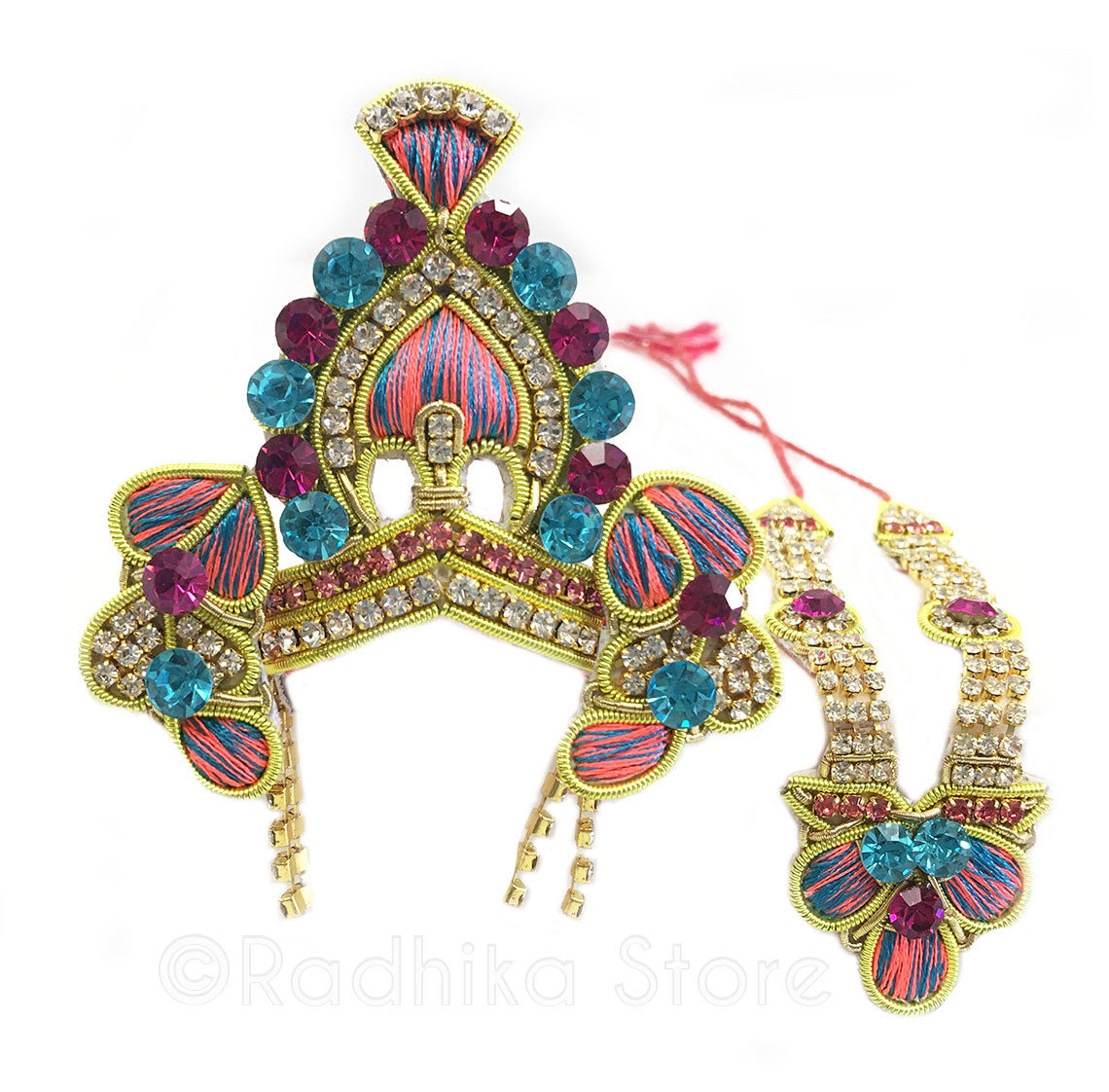 Braja - Deity Crown And Necklace Set -With Earrings - Peach-Teal And Fuchsia