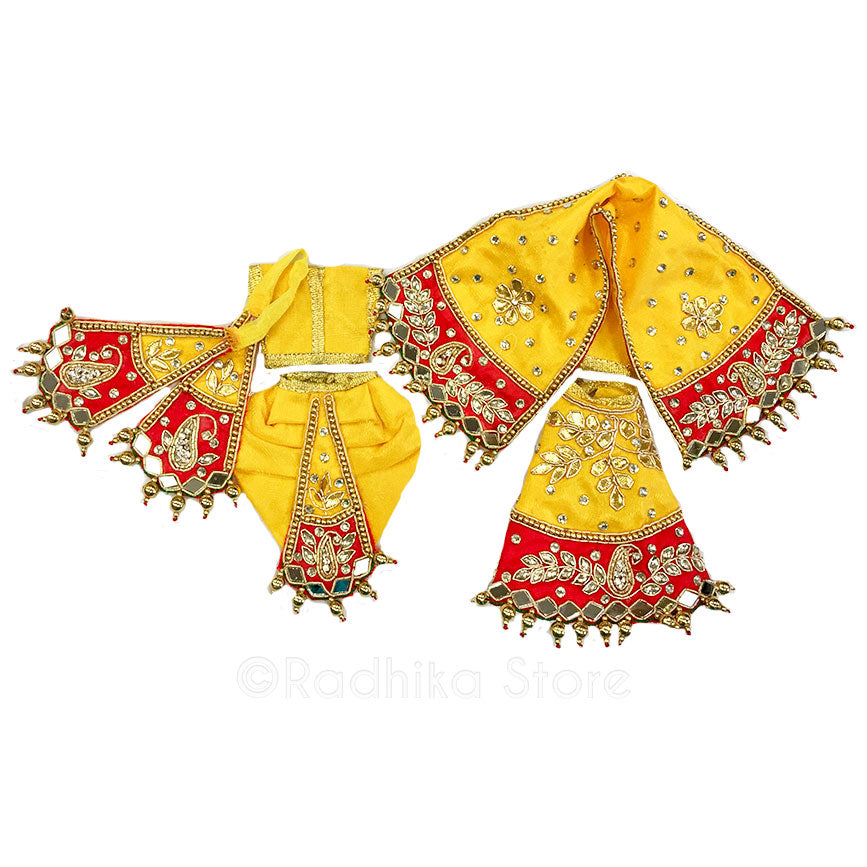 Braja Radha Krishna - Yellow and Red - Outfit (Radha Krishna)