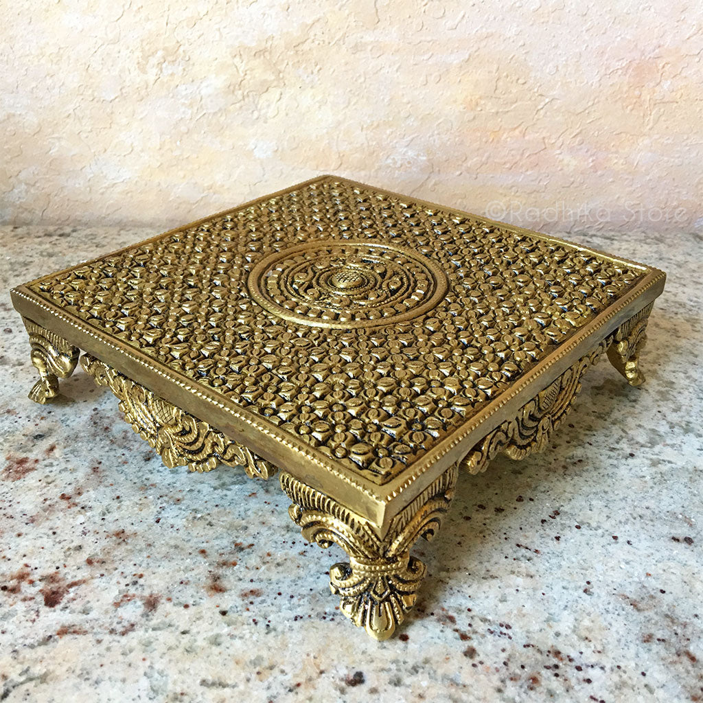 Brass Chowki - Flower Design (Table or Stand)-8 by 8 Inches