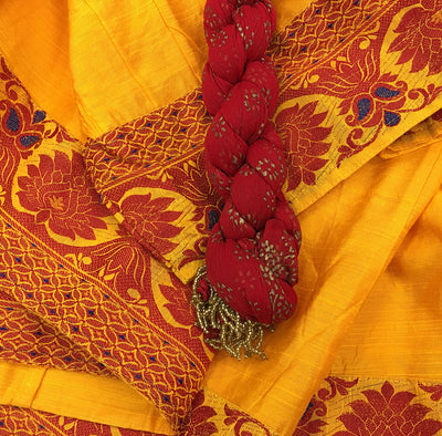 Gopi Skirt -India Oranga and Red -  Red Chadar-Size XL
