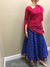 Gopi Skirt -Bright Blue and Green With  Gold - Fuchsia Chadar- Choose Size