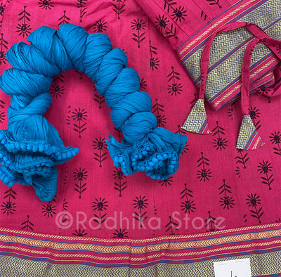 Gopi Skirt -Bright Pink With Navy Flower And Teal Chadar- Size Large
