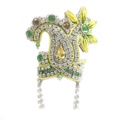 Sparkling Paisley Palm - Deity Crown Necklace Set - Yellow and Green