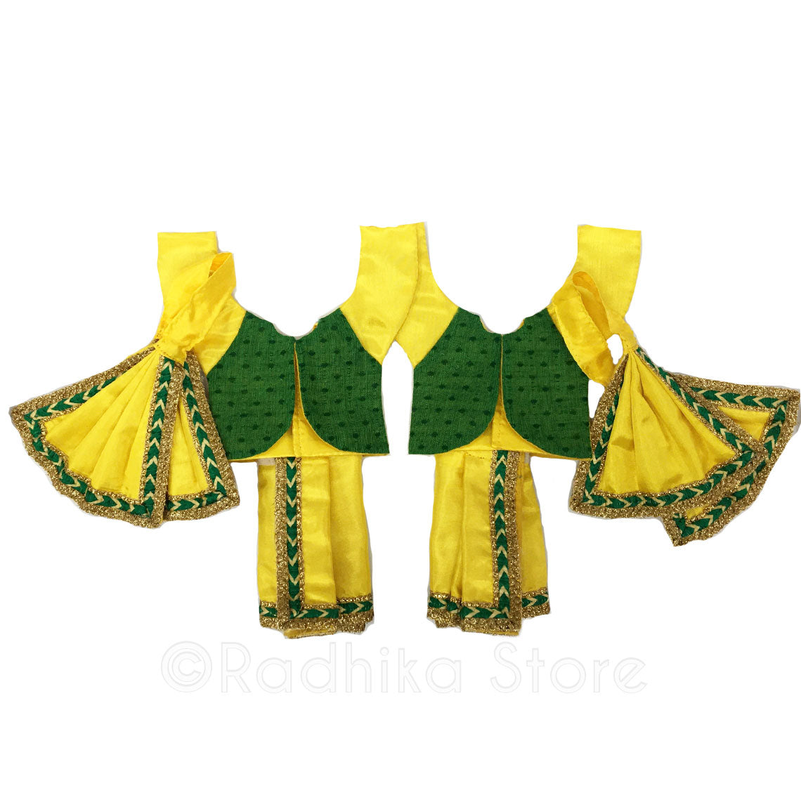 Gaura Hari Bright Yellow and Green With Vest - Deity Outfit- (Gaura Nitai)