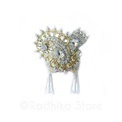 Clear Crystal Silver And Gold -  Chandrika Fan Crown