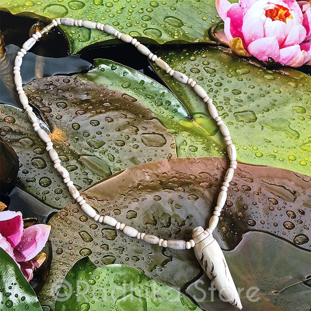 Long Conch Pendant- Tulsi Necklace