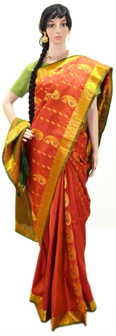 Copper with Gold Paisley - Pure Silk Saree