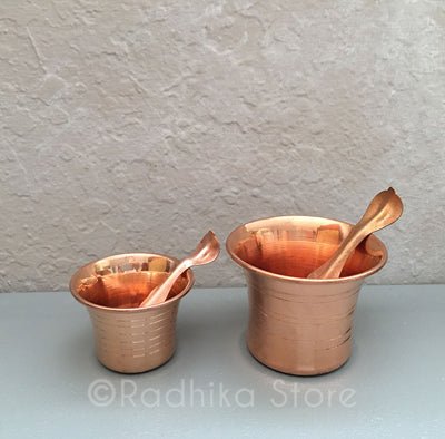 Copper Achman Cup and spoon - 2 Sizes