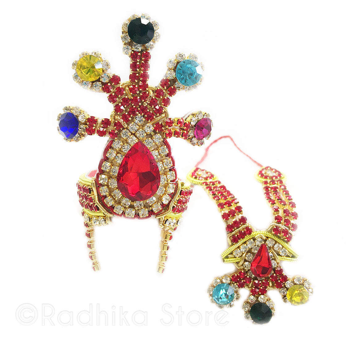 Cosmic Krishna - Deity Crown and Necklace Set -With Earrings - Red Multi Color