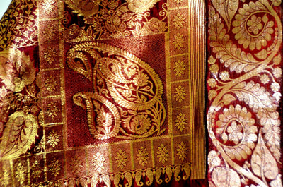 Cream Burgandy Gold Jari - Pure Silk Saree