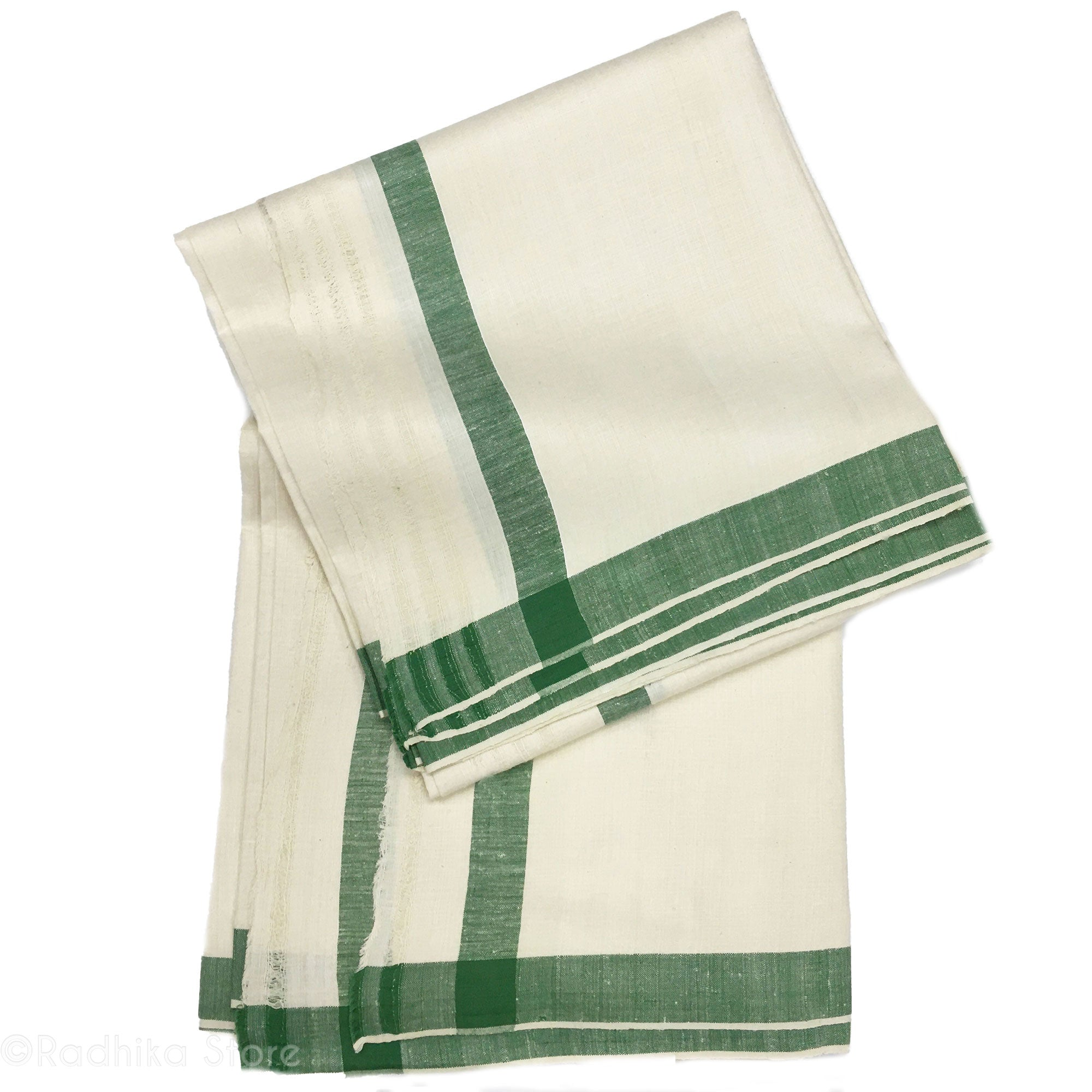 Raw Silk Dhoti And Chadar - Natural Khadi - Cream With Green Stripe