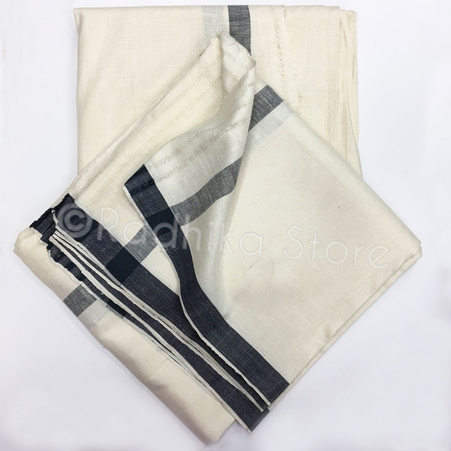 Raw Silk Dhoti And Chadar -  Cream With Black Stripe
