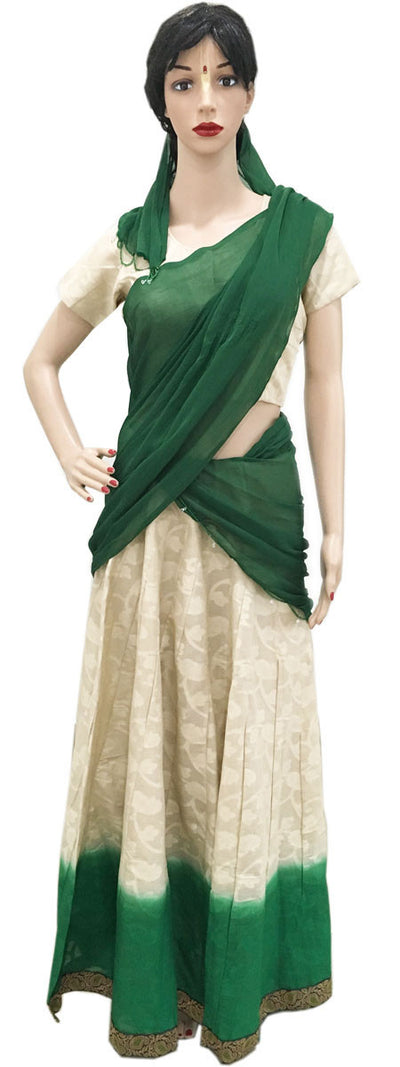 Ladies Gopi Skirt - Cotton Green With Cream Flower- Choli and Chiffon Chunni