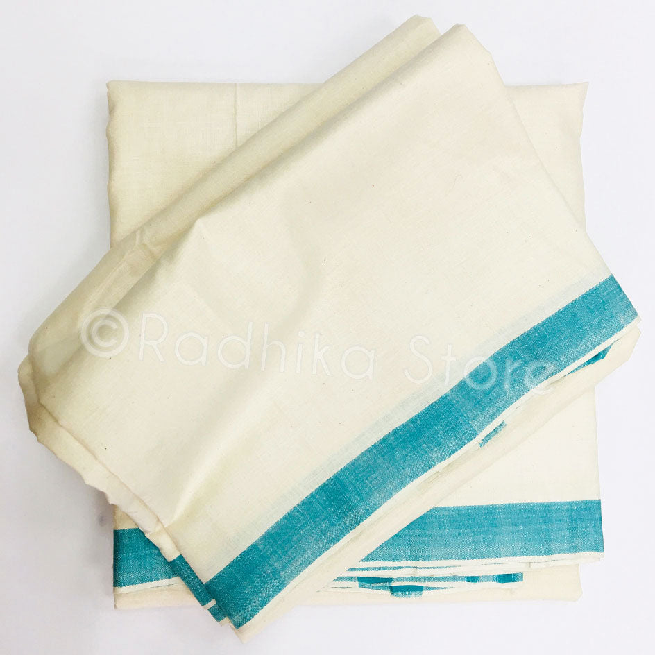 Raw Silk Dhoti And Chadar -  Cream With Teal Blue Stripe