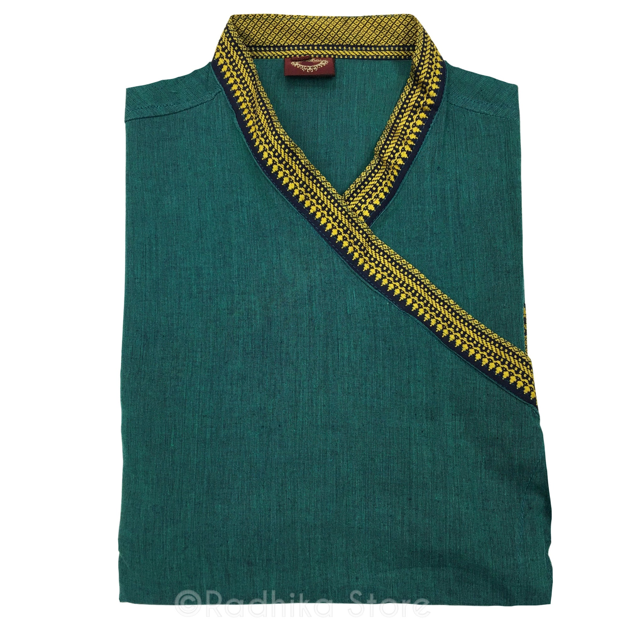 Dark Green Tweed Festival Bundi Kurta - Cotton - Short Sleeve