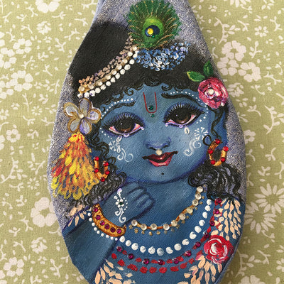 Hey Gopala - Hand Painted With Jewels - Dark Blue- Jute - Bead Bag